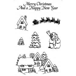 Mini Snowy Village rubber stamp set