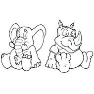 Ellie & Rhino rubber stamp set
