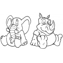 Ellie & Rhino rubber stamp set