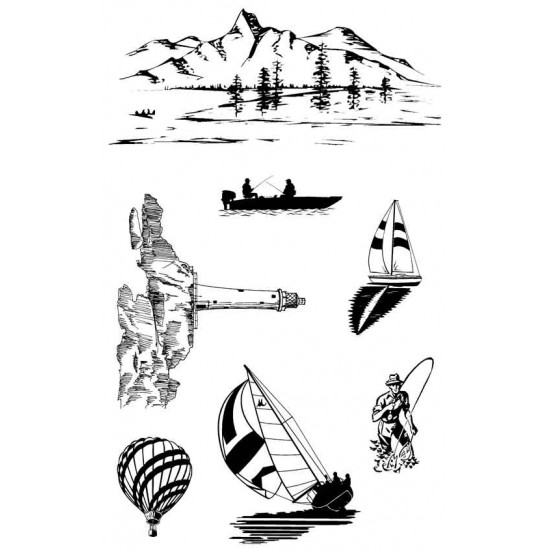 On the Water rubber stamp set