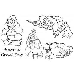 Cheeky Gorillas rubber stamp set