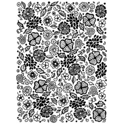 Flowers & Leaves Rubber Stamp