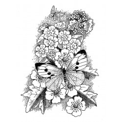 Butterfly & Flowers Rubber Stamp
