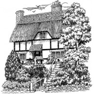 Thatched House Cling Rubber Stamp