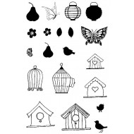 Birdcages & Butterflies Rubber Stamp Set