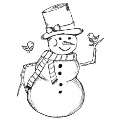 Cecil the Snowman Rubber Stamp