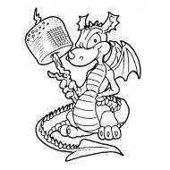 Marshamallow Dragon Rubber Stamp