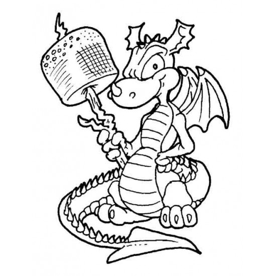 Marshmallow Dragon Cling Rubber Stamp