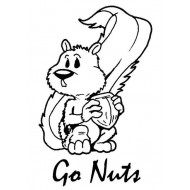 Go Nuts Squirrel Rubber Stamp
