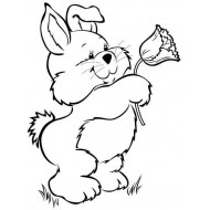 Bunny with Tulip Rubber Stamp