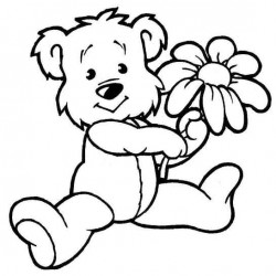 Teddy with Daisy Rubber Stamp