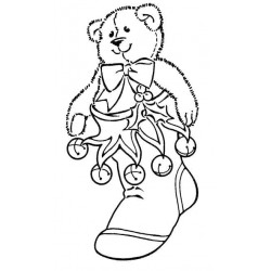 Teddy in Stocking Rubber Stamp