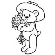 Teddy with Flowers Rubber Stamp