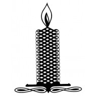 Calligraphic Candle Rubber Stamp
