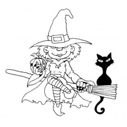 Witch on a Bromstick Rubber Stamp