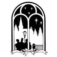 Arch Window Carolers Rubbers Stamp