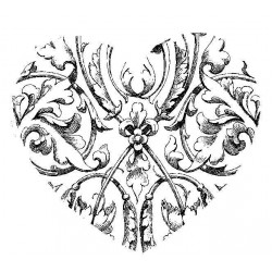 Etched Heart Rubber Stamp