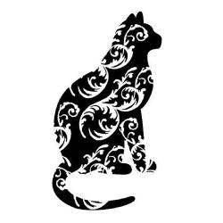 Swirly Kitty rubber Stamp