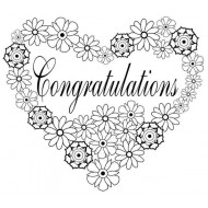 Congratulations Heart Rubber Stamp