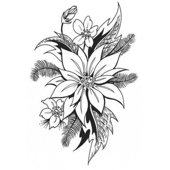 Poinsettia Bouquet Rubber Stamp