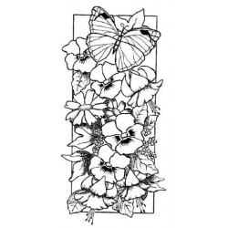Floral Panel Rubber Stamp