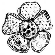 Grunge Flower 4 Rubber Stamp