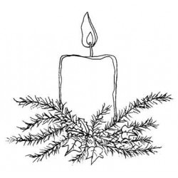 Festive Candle Rubber Stamp
