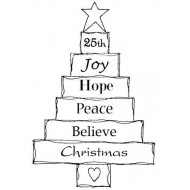 Layered Christmas Tree Rubber Stamp