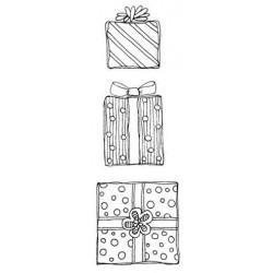 Gift Parcel Present Trio Rubber Stamp Set