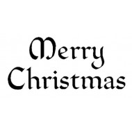 Merry Christmas Gothic Rubber Stamp