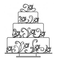 3 Tiered Wedding Cake Rubber Stamp