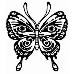 Stylized Butterfly Rubber Stamp