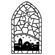Mini Bethlehem Stained Glass Rubber Stamp
