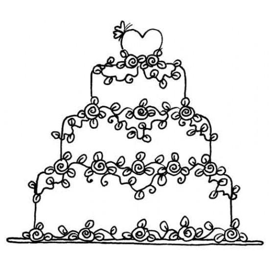 Floral Wedding Cake Rubber Stamp