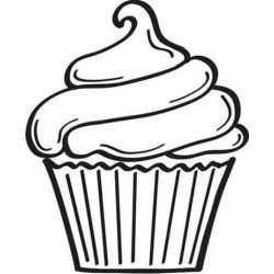 Large Cupcake Rubber Stamp