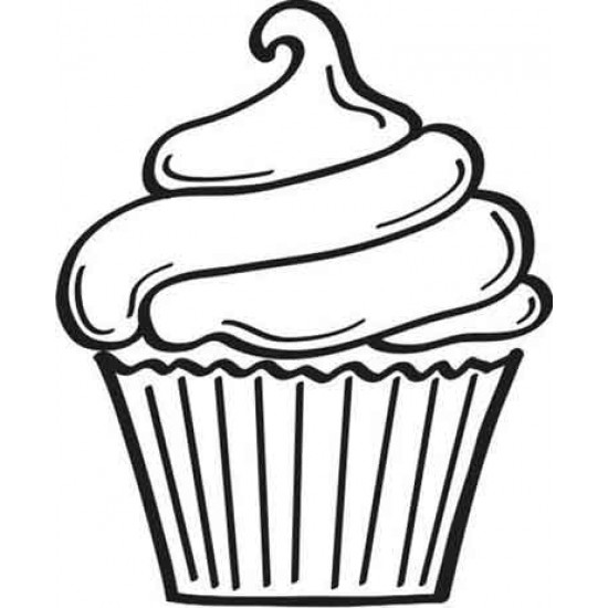 Large Cupcake Rubber Stamp