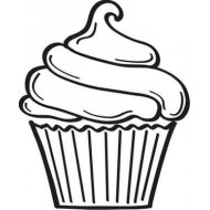 Small Cupcake Rubber Stamp