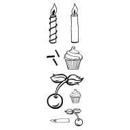 Mini Cupcake & Toppings Rubber Stamp Set