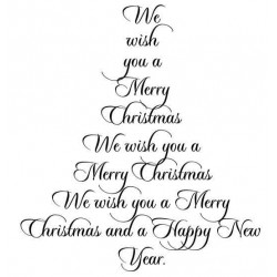Merry Christmas Tree Cling Rubber Stamp