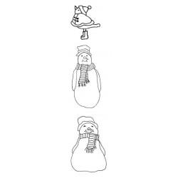 Snowmen & Robin Rubber Stamp Set