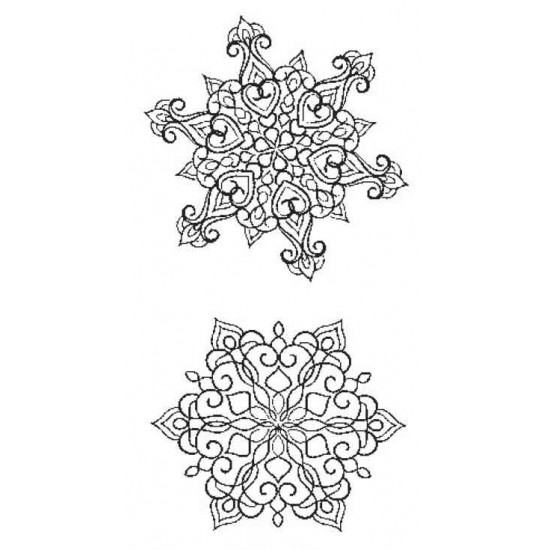 Mini Fanciful Snowflakes Rubber Stamp Set