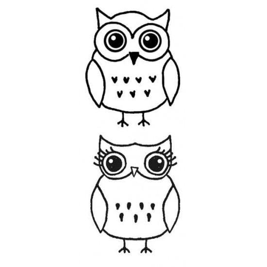 Large Owls Rubber Stamp Set