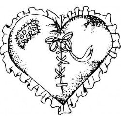 Frilly Heart Rubber Stamp