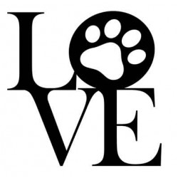 Paw Print Love Rubber Stamp
