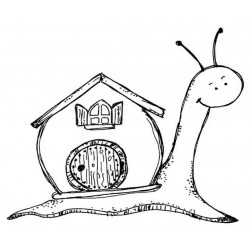 Snail Home Rubber Stamp