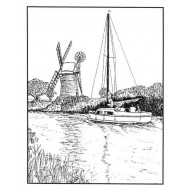 Windmill and Boat Rectangle Rubber Stamp