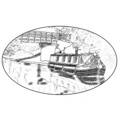 Canal Boat Rubber Stamp