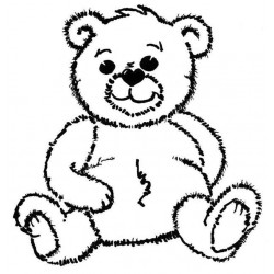 Large Archie Bear Rubber Stamp