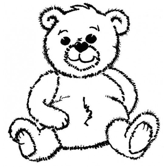 Small Archie Bear Rubber Stamp