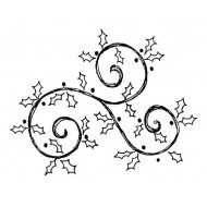 Holly Sketch Rubber Stamp